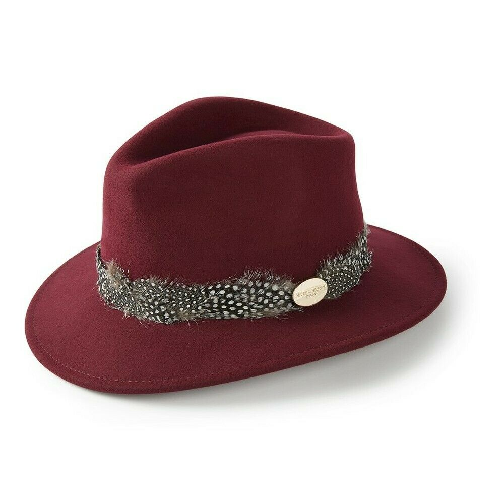 Hicks And Brown Suffolk Fedora Guinea Trim Maroon