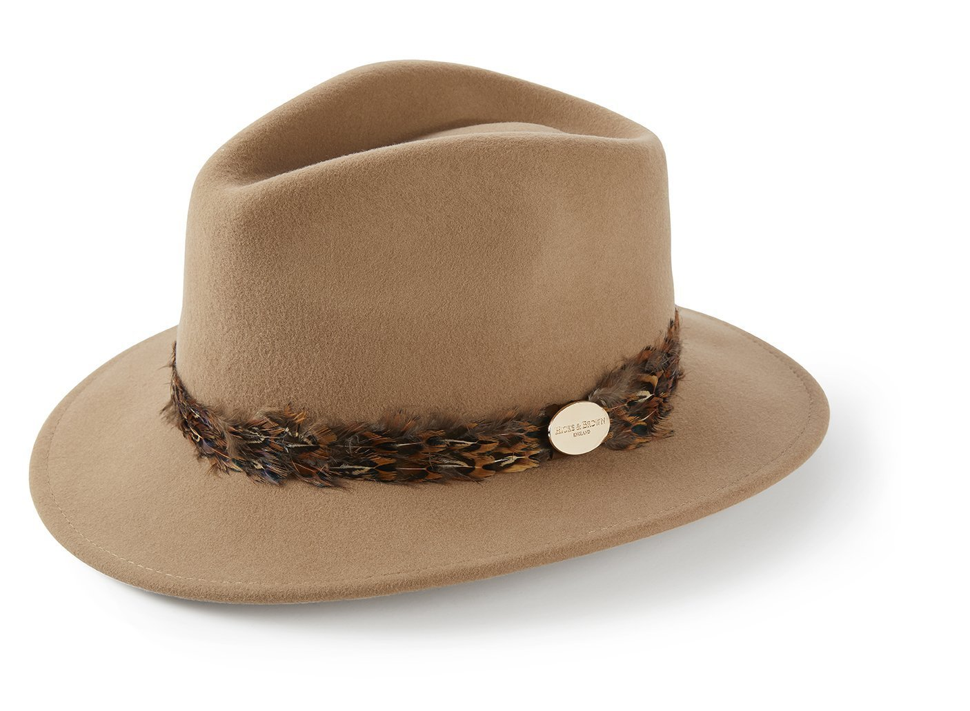 Hicks And Brown Suffolk Fedora Pheasant Trim Camel