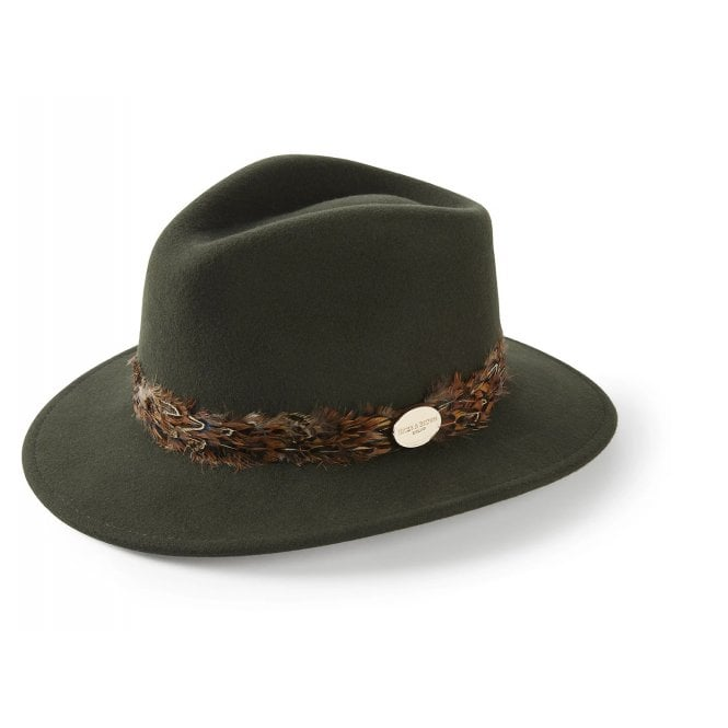 Hicks And Brown Suffolk Fedora Pheasant Trim Olive