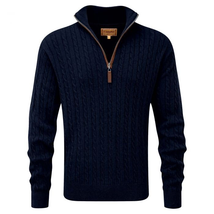 Schoffel Cotton Cashmere Cable 1/4 Navy