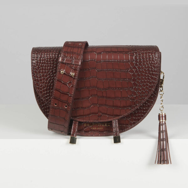 Salthouse Floriana Croc Embossed Bag Cocoa