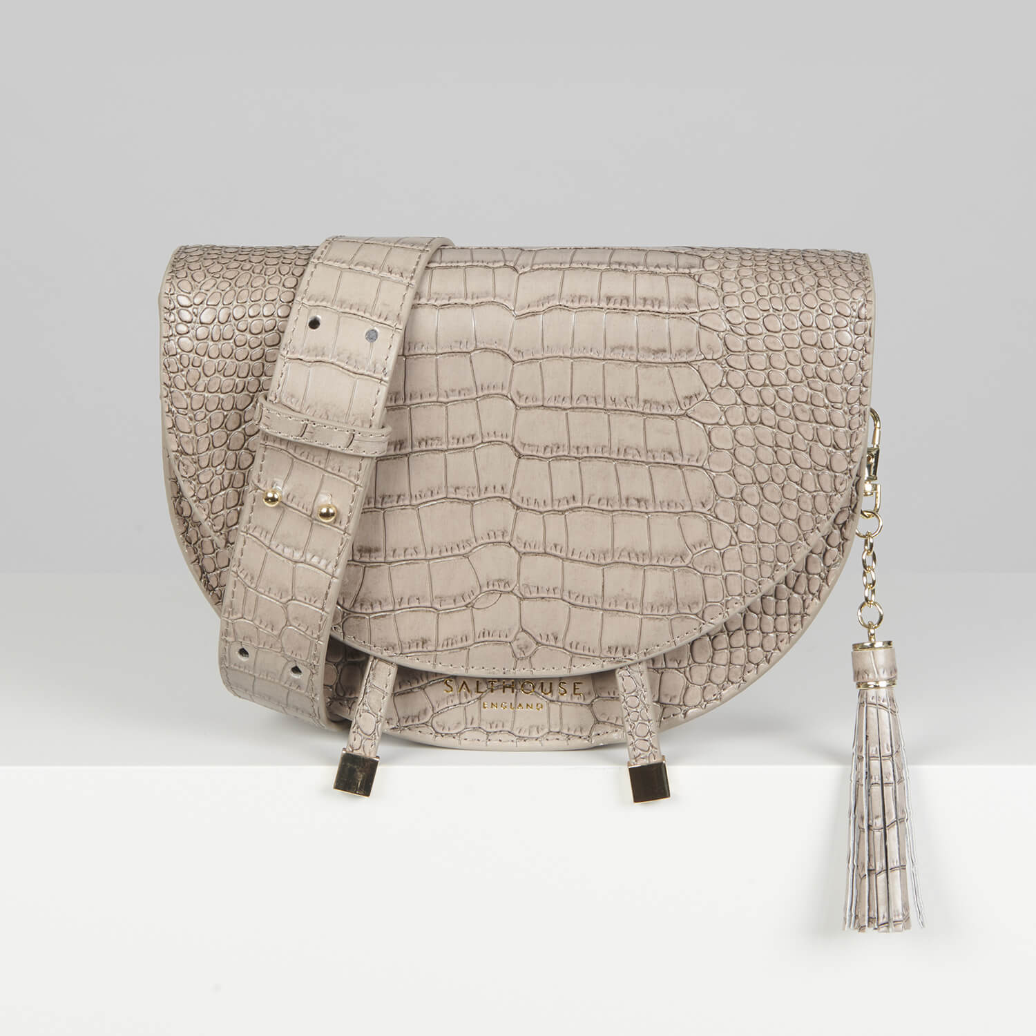 Salthouse Floriana Croc Embossed Bag Stone
